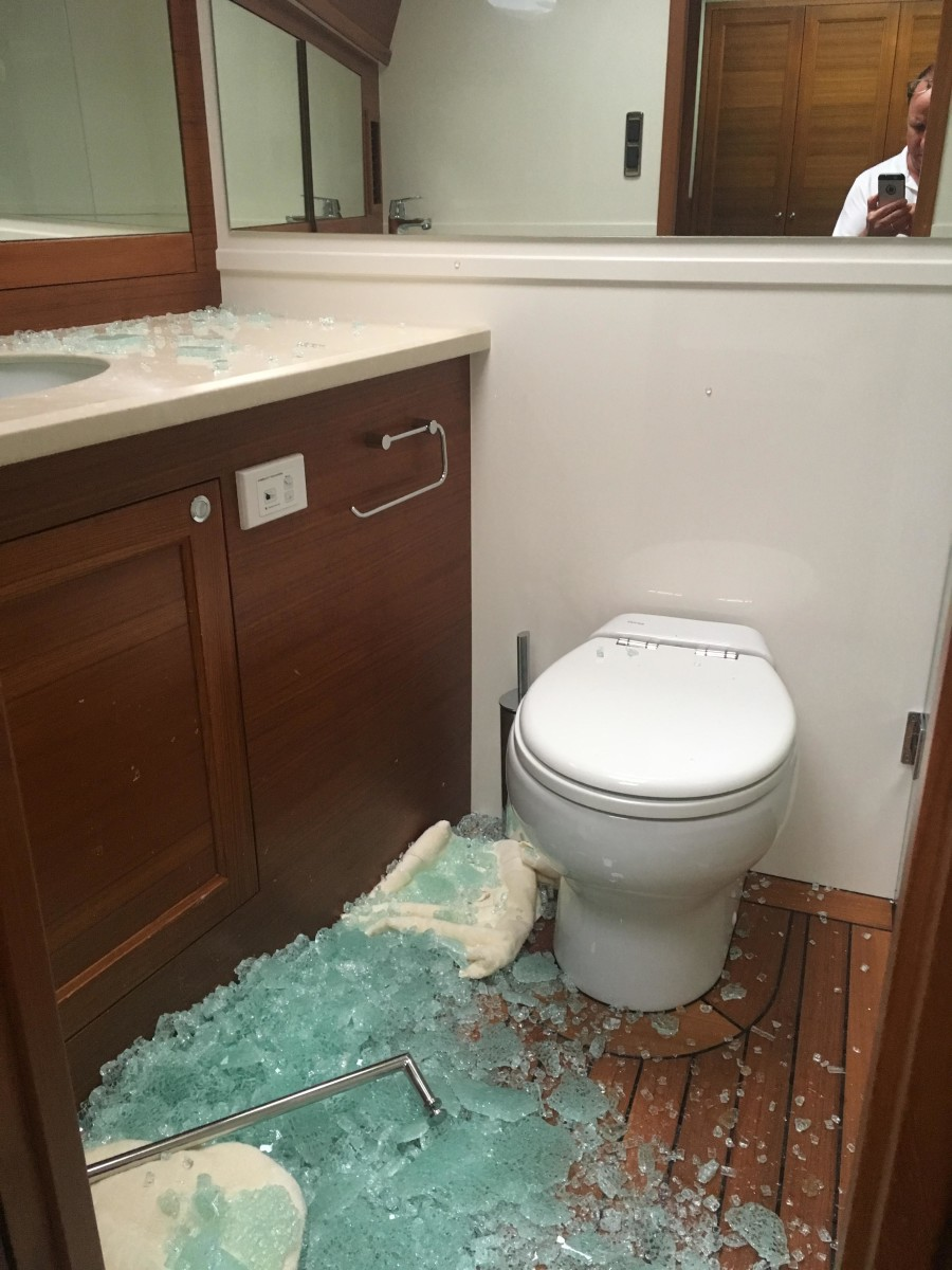 Forgoing a pre-departure review resulted in a shattered shower door during a serious storm.